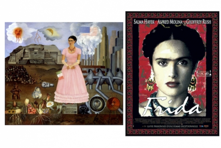 All Things Frida L:Frida Kahlo, Self-Portrait on the Borderline Between Mexico and the United States, 1932, Private Collection ; R: Frida, the film