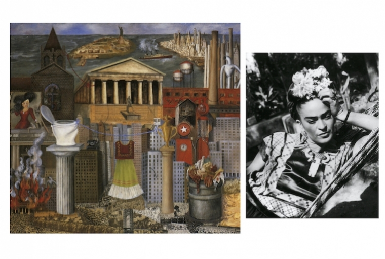 All Things Frida L:Frida Kahlo, My Dress Hangs There, 1933, Hoover Gallery ; R: Frida Kahlo© 1995 Banco de México, as a trustee for the Diego Rivera and Frida Kahlo Museums