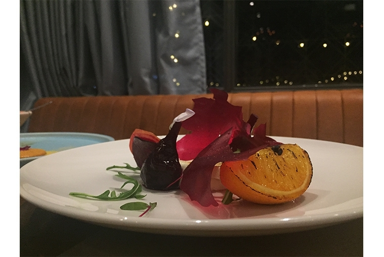 Amuse House Grilled Goat Cheese, Beetroots and Burnt Orange Salad