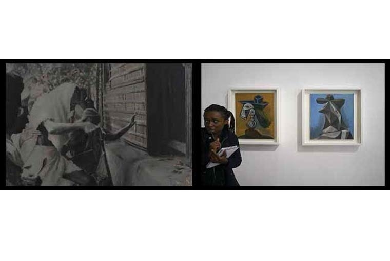 Art Basel Noakhali, November 1946 | Left panel: Oil on canvas | Right panel: Archival digital print on hahnemuehle bamboo paper, installed size: 51 x 152 cm