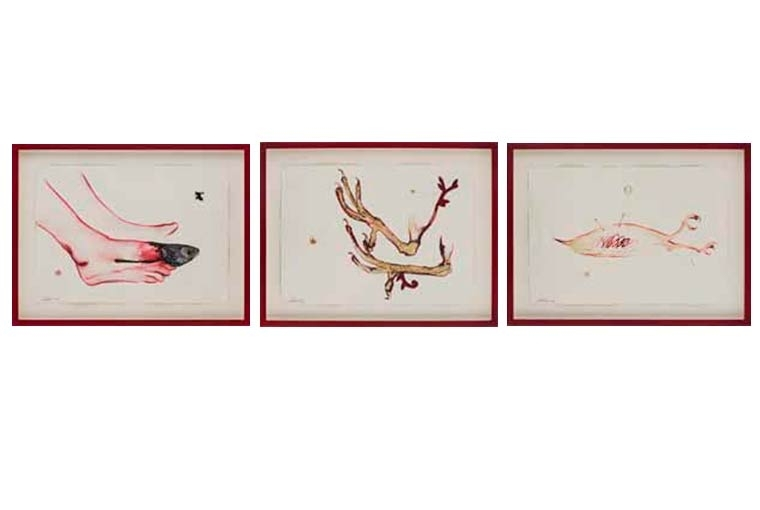 Art Basel Museum piece #4- (un)drawing | Time, handmade paper, red ink, drawing, inbetweeness | 51 x 40 x 6 cm each | 1997-2017 (ongoing)