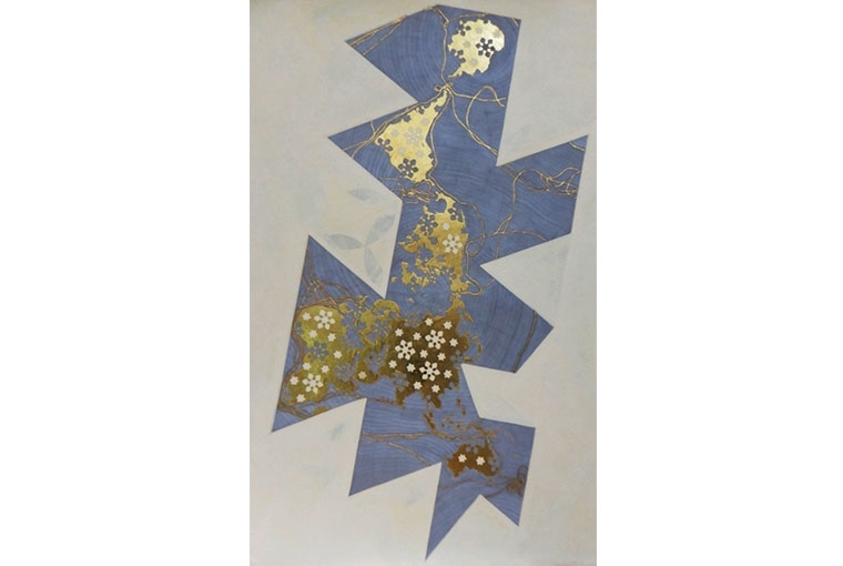Art Basel Dymaxion Map III. Vasco Da Gama, Ferdinand Magellan, Christopher Columbus, James Cook | Pigment paint on Handmade Sanganeer paper, with raised gold gild 140 x 90 cm | 2018