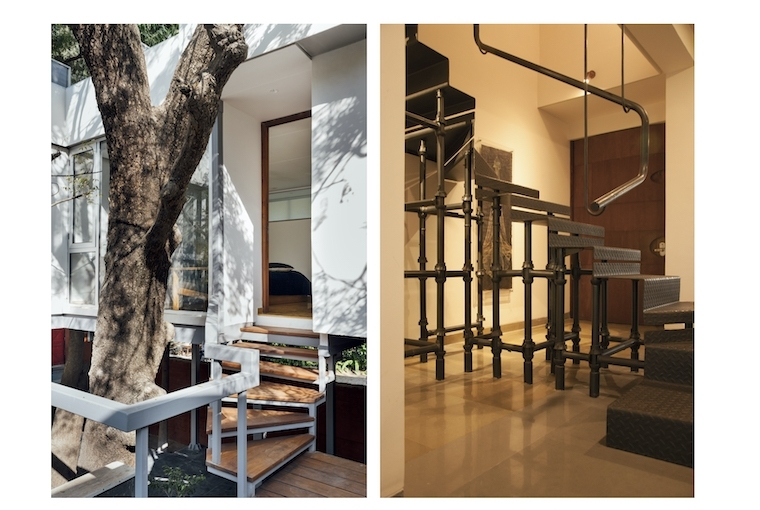 BandukSmith Studio L: Chidambarum Treehouse Entry; R:Crafted Penthouse Scaffold Stairs