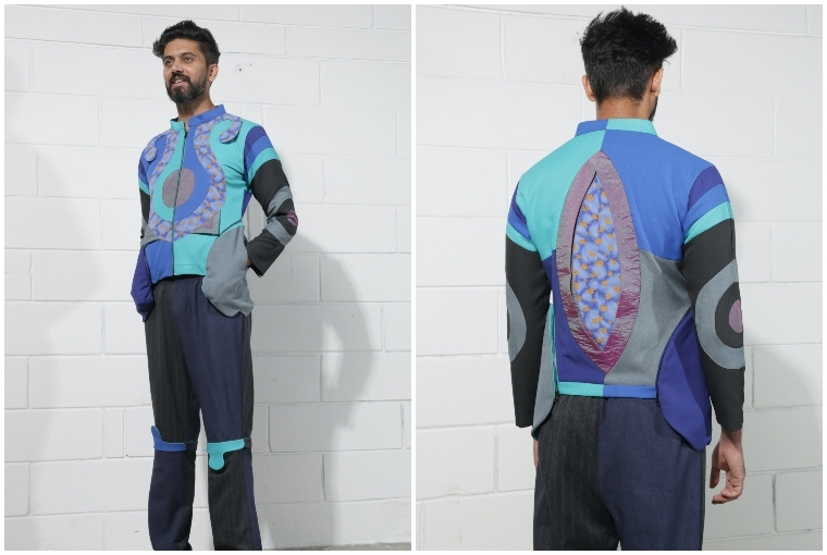 Grandma Would Approve The blue gradient bomber has been constructed using  7 trousers, 1 windcheater and 1 vintage dress