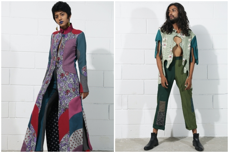 Grandma Would Approve L: The long oriental jacket and trouser set has been constructed using 8 trousers, 2 silk shirts, 1 blazer and 1 vintage dress