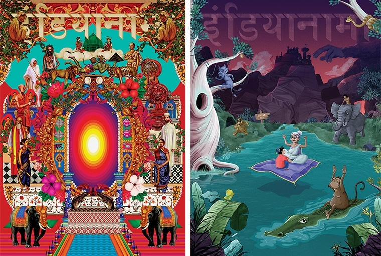 Indianama 2017 [L] Artwork by Rishidev R; [R] Artwork by Broti Bhattacharya and Dhruvi Tolia
