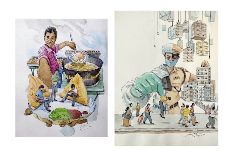 Mithil Thaker L: It's time to eat with a samosa ; R: The true corona protector! Watercolor and pen on paper, 16