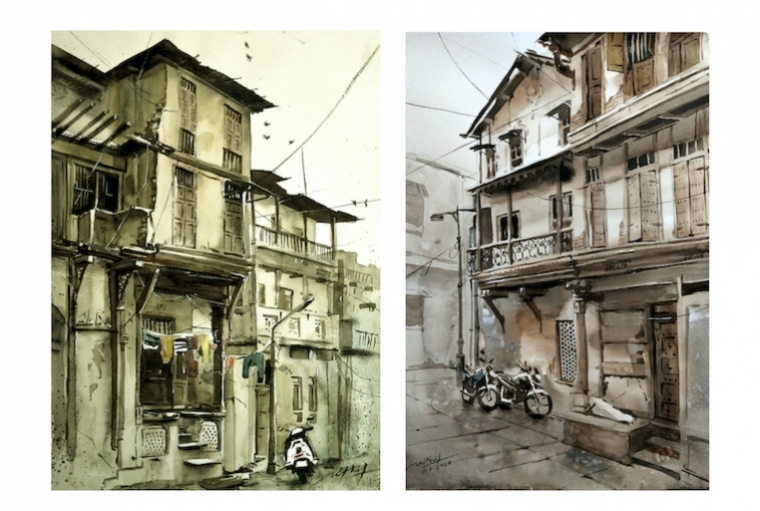Mithil Thaker L: Dhal Ni Pole ; R: Ahmedabad heritage-I. Watercolor on paper, 11